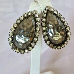Vintage Silver & Metallic Grey Rhinestone Earrings